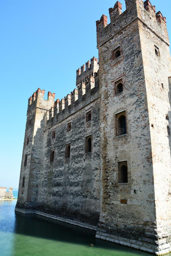 Scaliger medieval castle on Garda Lake in Sirmione, Italy. Scaliger ancient castle on Garda Lake in Sirmione, Italy royalty free stock image
