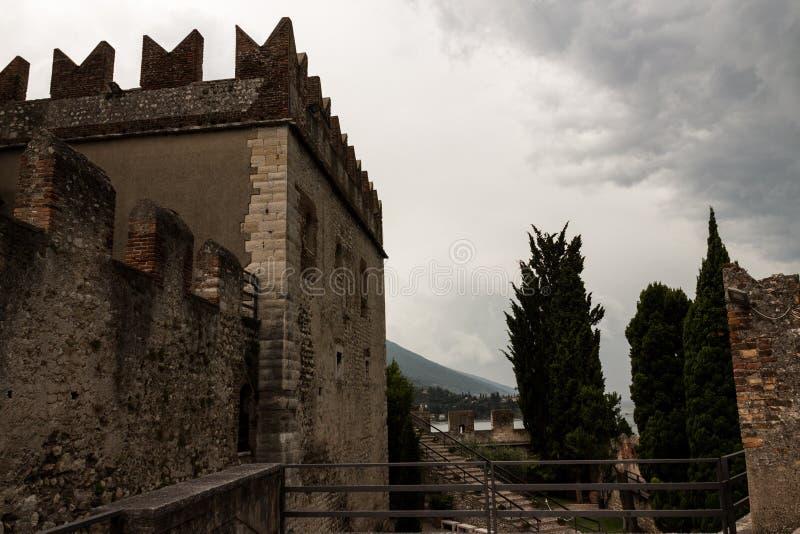 Scaligero城堡马尔切西内,加尔达湖,意大利 库存照片