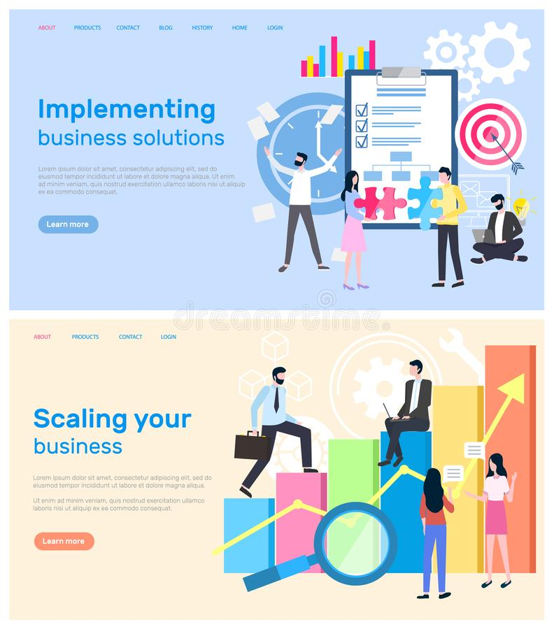 Scaling Business and Implementation of Solution. Vector. Infographics in visual representation, magnifying glass and charts with global data worldwide results vector illustration