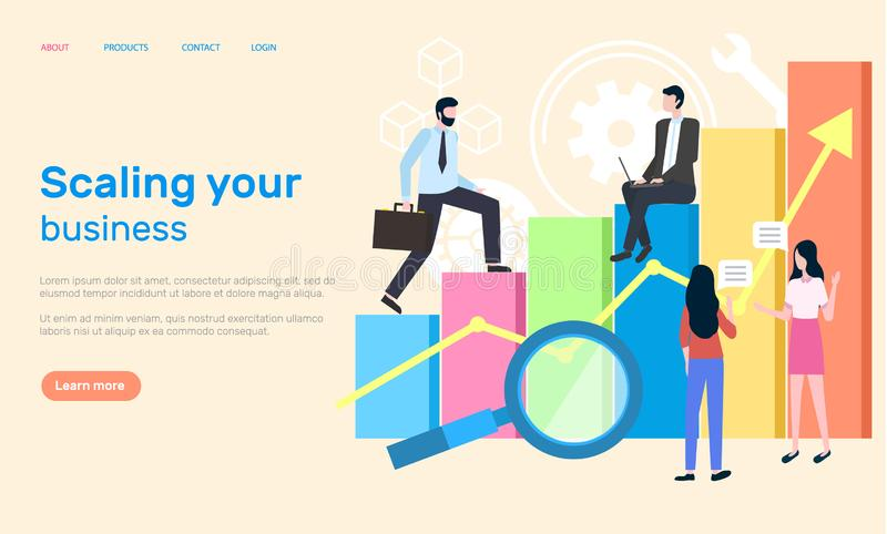Scaling Business People Achieving Success at Work. Scaling business people working in office website vector. Woman and man analyzing results from information and vector illustration