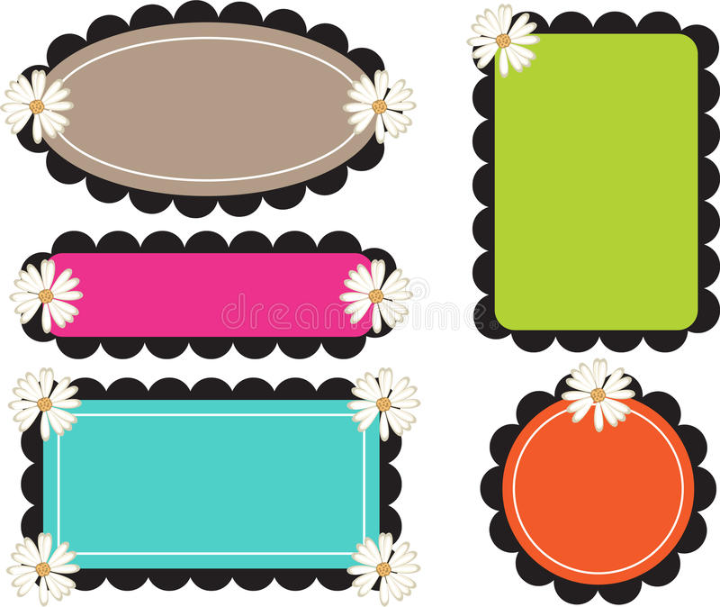 Scallop Edge Frames Retro Bold Stock Vector - Illustration of bold ...