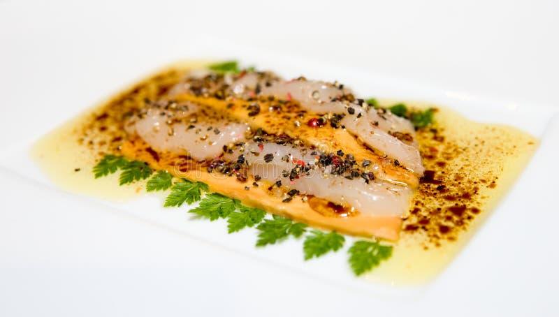 scallop gras fois carpaccio вкусный стоковая фотография