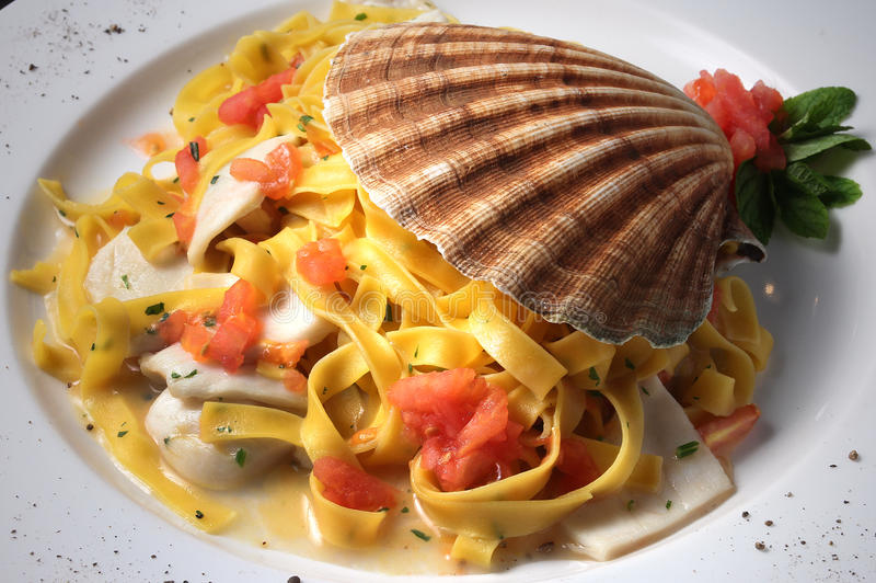 Scallop pasta royalty free stock image