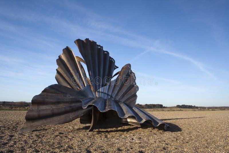 'Scallop' Sculpture on Aldeburgh Beach, Suffolk, England royalty free stock photos