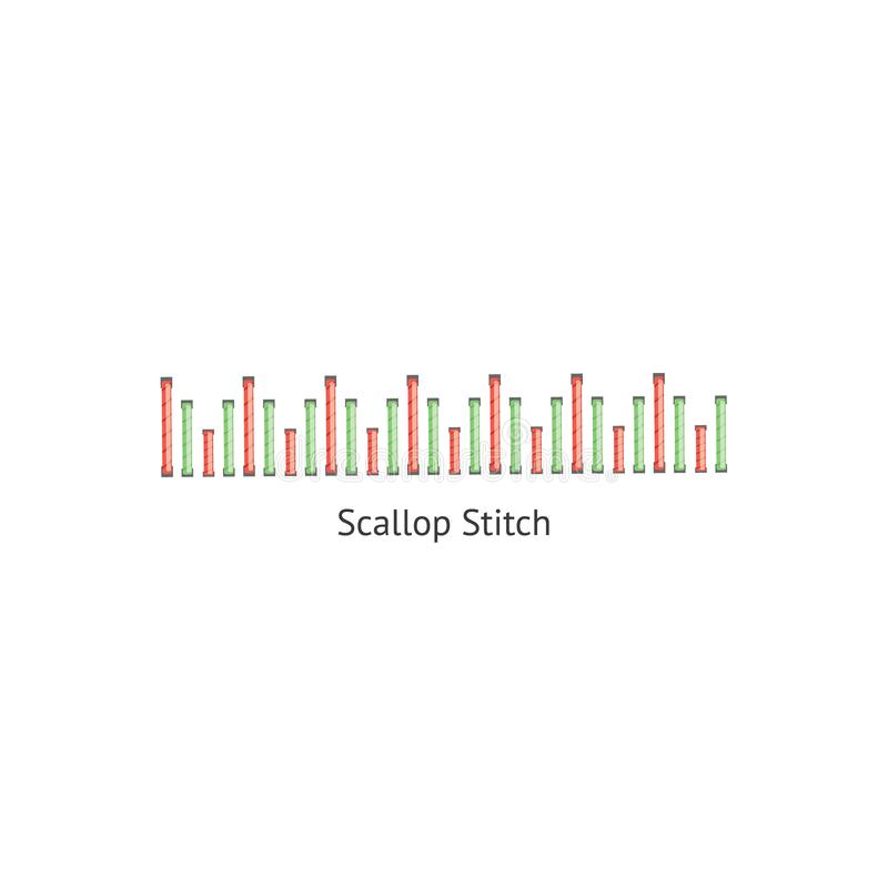 Scallop sewing embellishment stitch seamless brush vector illustration isolated. Scallop sewing decorative embellishment stitch seamless brush vector stock illustration