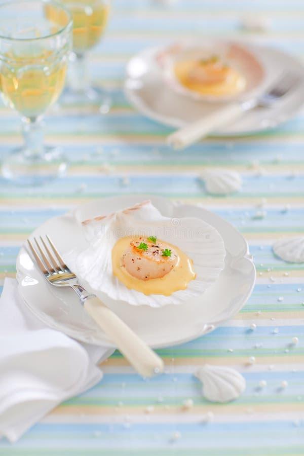 scallops соуса шафрана стоковые фото