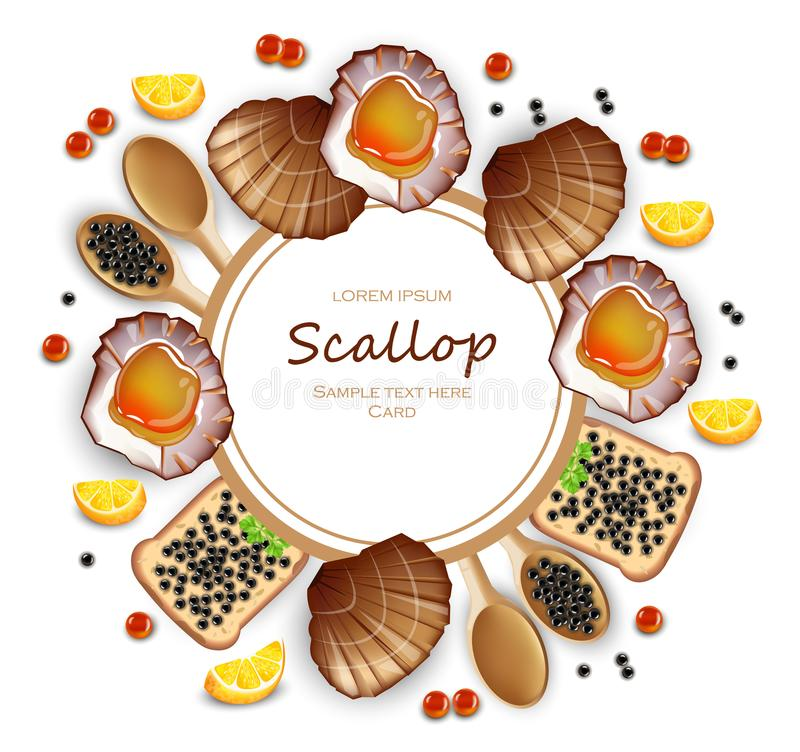 Scallops and caviar card Vector realistic seafood. Fresh shellfish. 3d detailed illustrations. Scallops and caviar card Vector realistic seafood. Fresh shellfish stock illustration