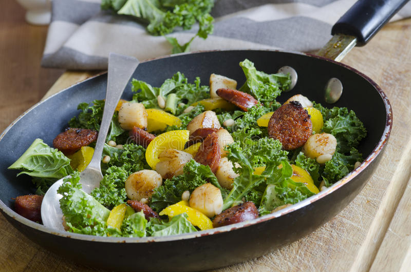 Scallops, chorizo and kale. Spanish sausage, scallops, kale and yellow peppers on a pan stock photography