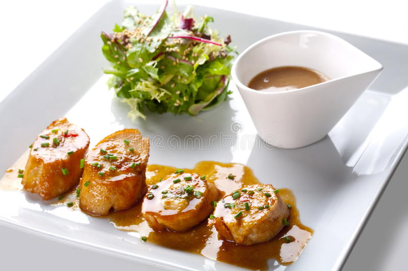 Scallops With Salad And Sauce Royalty Free Stock Image
