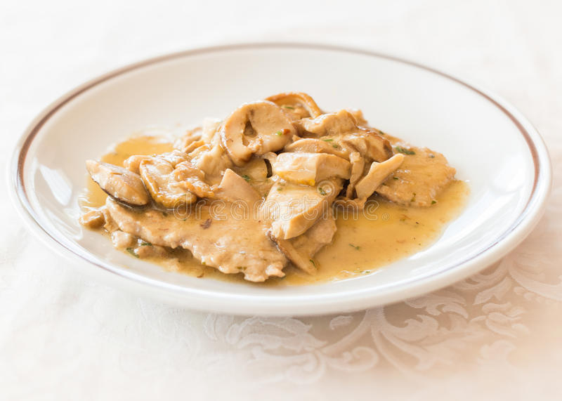 Scallops of veal with mushrooms royalty free stock images