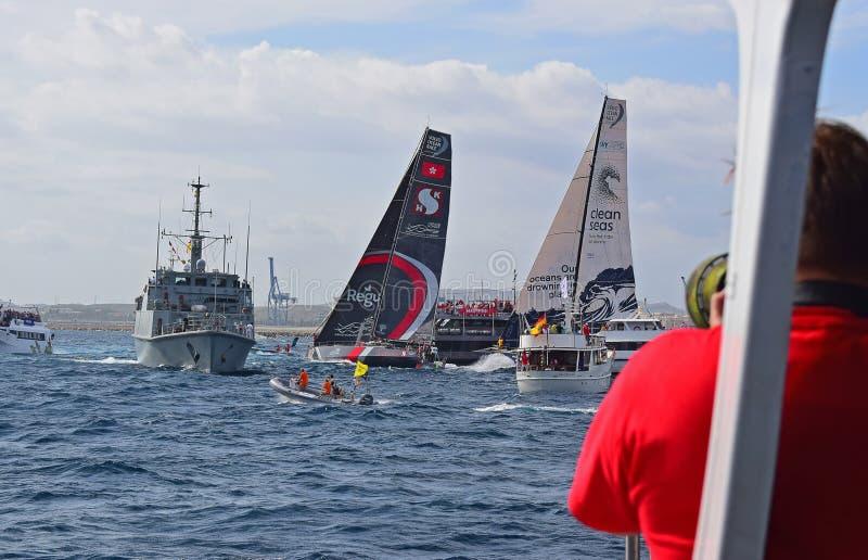 Scallywag And Clean Seas Sailing Close Between Spectator Boats Volvo Ocean Race Alicante 2017 stock photos