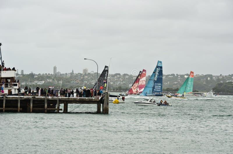 Scalo dell'oceano Race.Auckland di Volvo. fotografia stock
