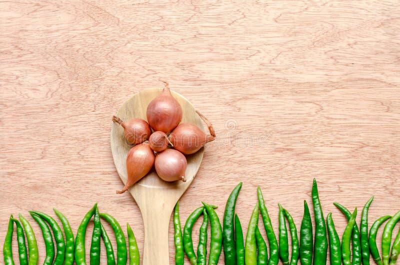 Scalogno sul cucchiaio di legno e sul peperoncino rosso verde fotografia stock libera da diritti