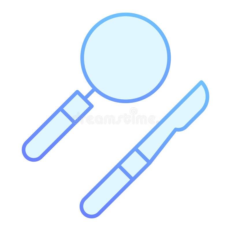 Scalpel en lens vlak pictogram Medische apparatuur blauwe pictogrammen in in vlakke stijl De chirurgische stijl van de instrument vector illustratie