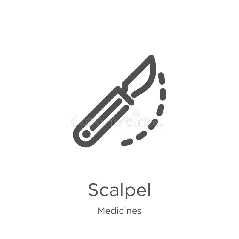 scalpel icon vector from medicines collection. Thin line scalpel outline icon vector illustration. Outline, thin line scalpel icon stock illustration
