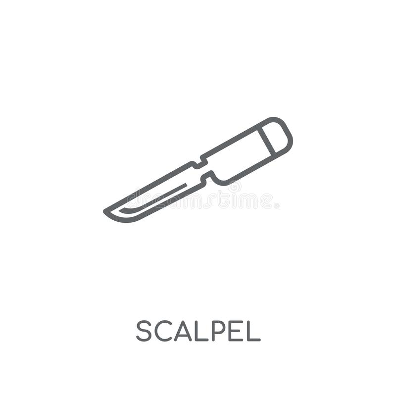 Scalpel linear icon. Modern outline Scalpel logo concept on whit stock illustration