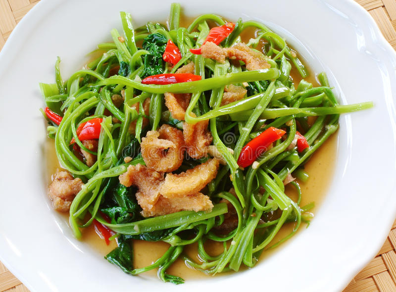 Scalpore Fried Water Spinach immagine stock
