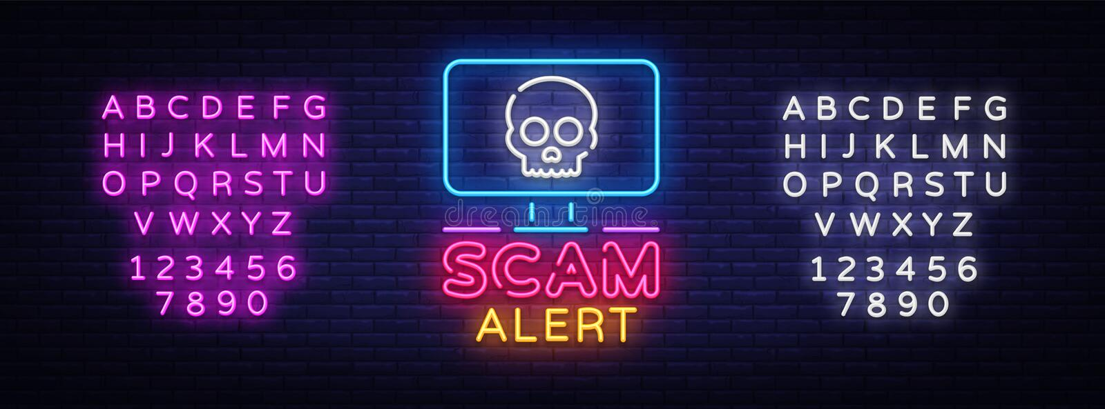 Scam Alert neon sign vector. Scam Alert Design template neon signboard, light banner, neon signboard, nightly bright. Advertising, light inscription. Vector vector illustration