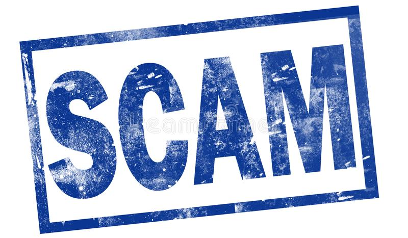 Scam dans le timbre d'encre bleue illustration de vecteur