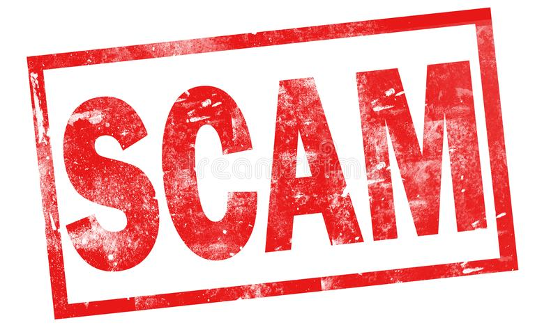 Scam dans le timbre rouge d'encre illustration stock