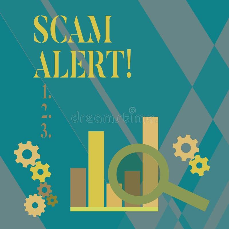Scam för ordhandstiltext varning Affärsidé för fraudulently att erhålla pengar från offer, genom att övertala honom som förstorar vektor illustrationer