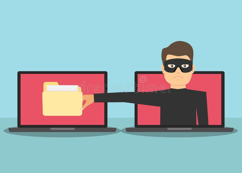 Scam. The Internet scammer wants to steal personal data. A man with a hand wants to steal information from a laptop. stock illustration