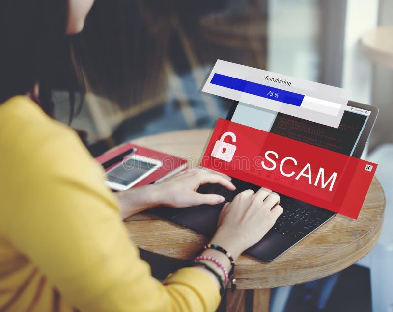 Scam Phising för bedrägeridataintrångskräppost begrepp royaltyfri bild