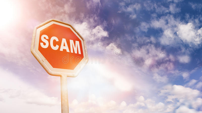 Scam on red traffic road stop sign royalty free stock photography