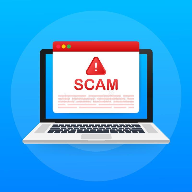 Scam varning Begrepp f?r en hackerattack- och reng?ringsduks?kerhetsvektor, phishing svindel N?tverks- och internets?kerhet ocks? royaltyfri illustrationer