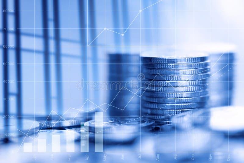 Scambio del mercato azionario e dati finanziari Grafici finanziari ed operazioni di borsa Educat di analisi di mercato o di borsa fotografia stock