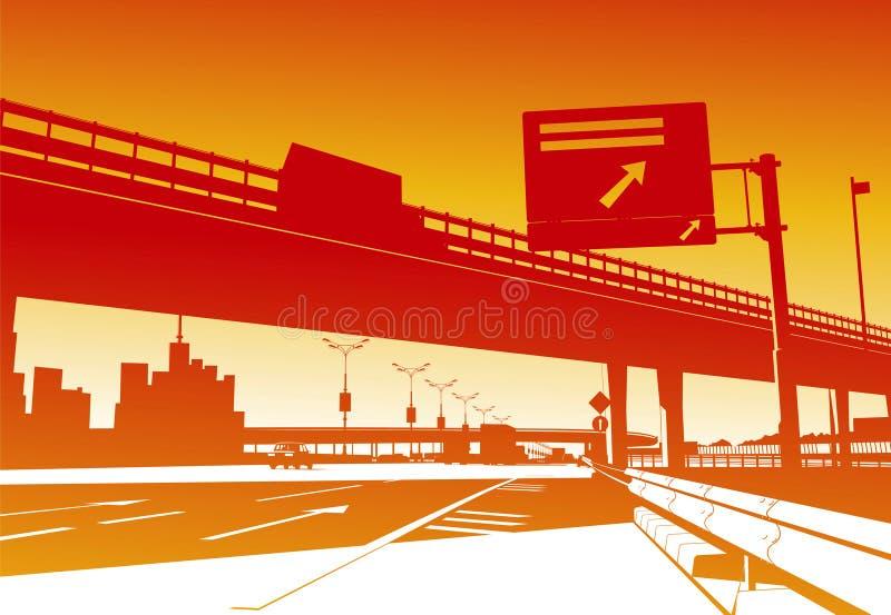 Scambio dell'autostrada senza pedaggio illustrazione di stock