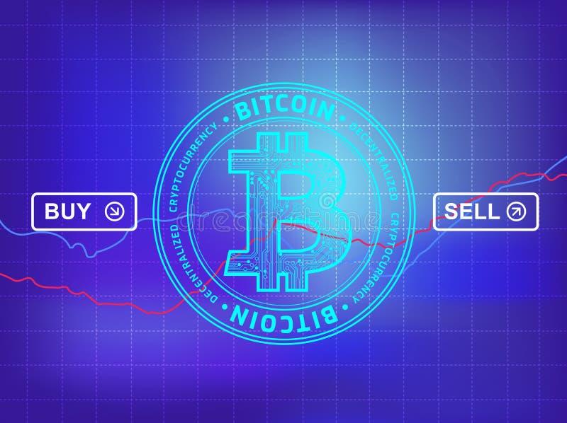 Scambio di Cryptocurrency - cryptocurrency compra-vendita - bitcoin pric illustrazione vettoriale
