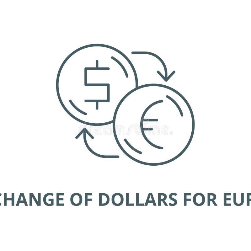 Scambio di dollari per la linea icona, concetto lineare, segno del profilo, simbolo di vettore degli euro illustrazione vettoriale