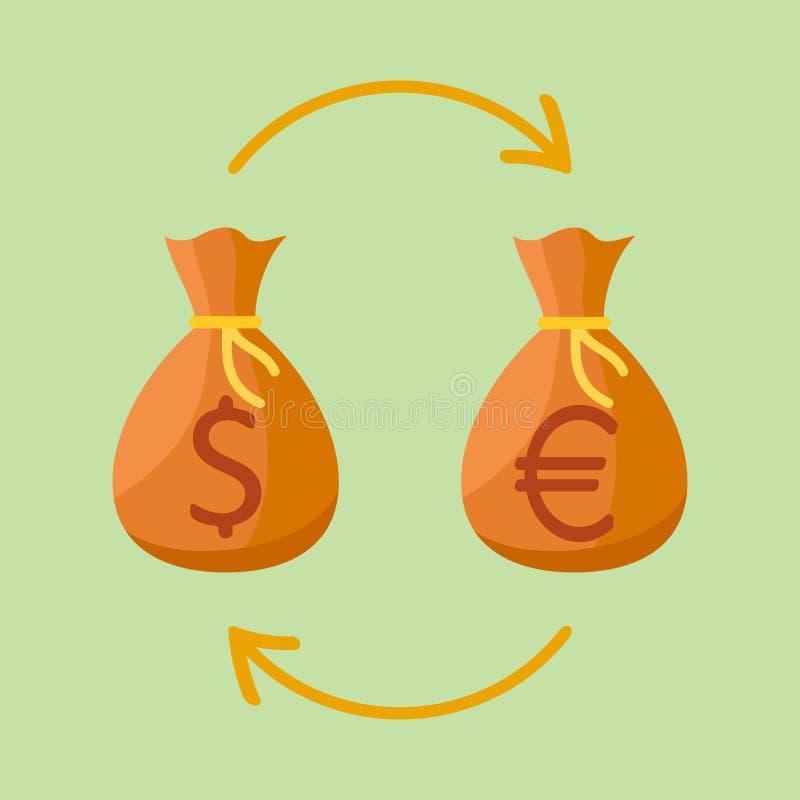 Scambio di valuta Borse dei soldi con il segno dell'euro e del dollaro illustrazione vettoriale