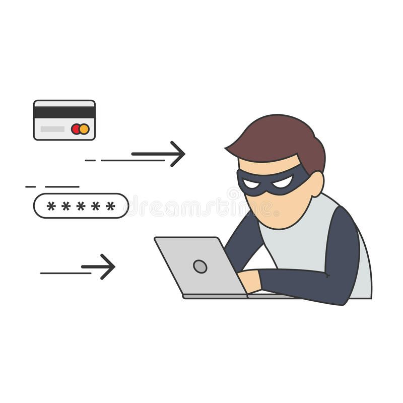 Scammer, ladrón del pirata informático o de Internet libre illustration