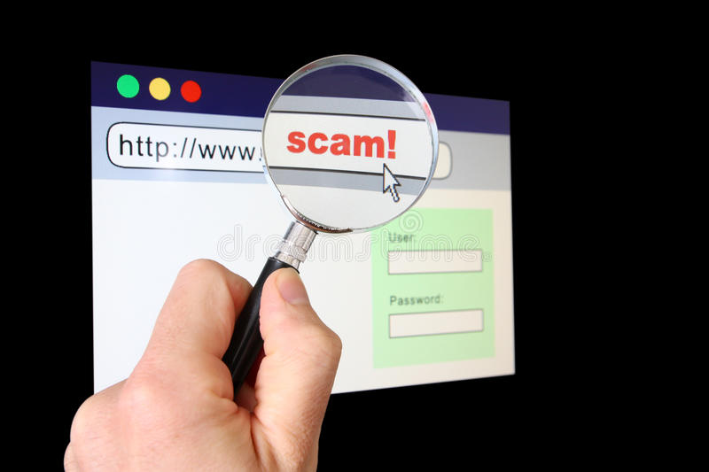 Scams in the WWW. A hand holds a magnifying glass over the location bar of a browser, revealing the URL is a scam