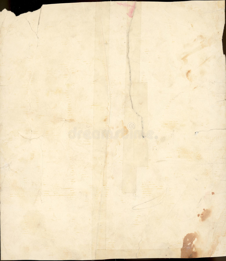 Scan of 100 year old stained paper royalty free stock photo