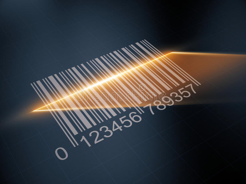 Scan barcode with the laser strip stock illustration