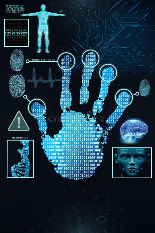 Scan eines handprint mit einem binär Code und menschlichen Daten stock abbildung