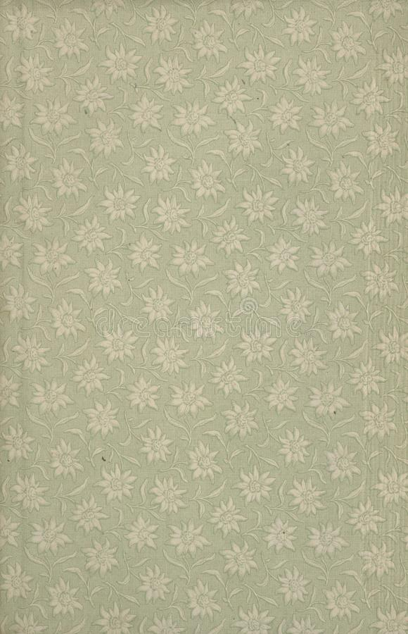 Scan the flyleaf of an old book, green-gray-brown, with dense and intricate floral pattern. stock photos