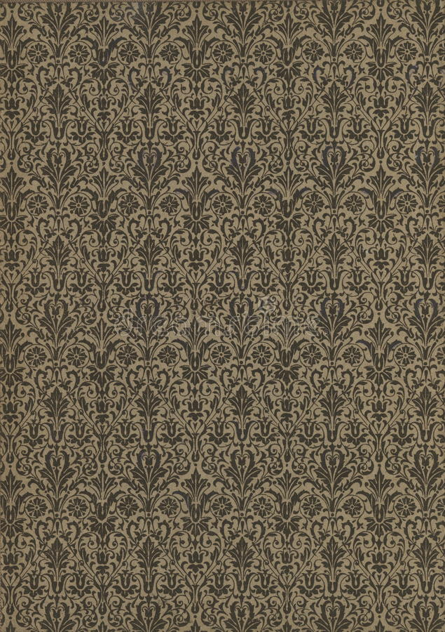 Scan the flyleaf of an old book, yellow-gray-brown, with dense and intricate floral pattern. royalty free stock image