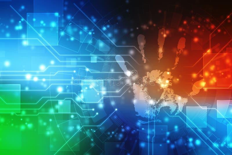 Scan-Handdruck-Technologiehintergrund, Sicherheits-Konzepthintergrund lizenzfreie abbildung