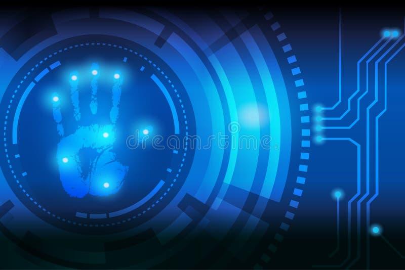 Scan handprint technology royalty free illustration