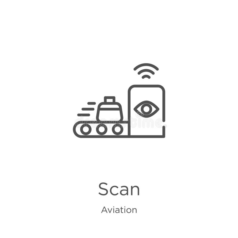 Scan icon vector from aviation collection. Thin line scan outline icon vector illustration. Outline, thin line scan icon for. Scan icon. Element of aviation royalty free illustration