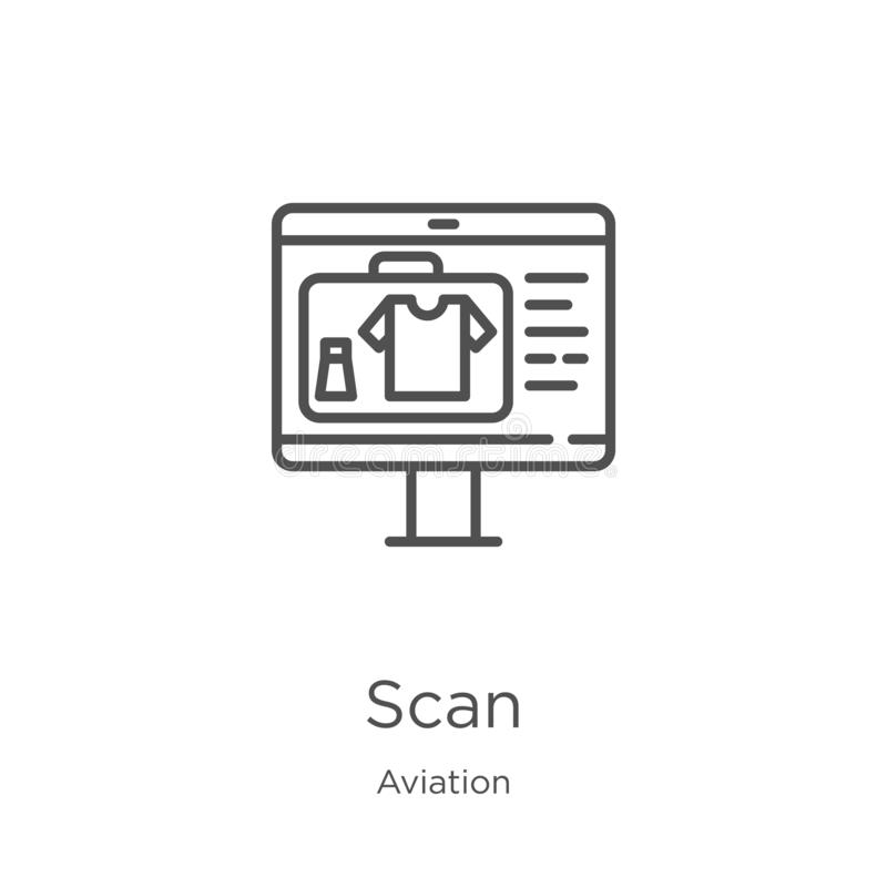 Scan icon vector from aviation collection. Thin line scan outline icon vector illustration. Outline, thin line scan icon for. Scan icon. Element of aviation stock illustration