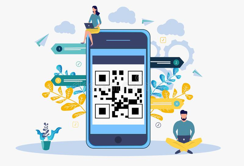 Scan QR code. People scan the qr-code for payment through a smartphone. Colorful vector illustration. Metaphor.  stock illustration