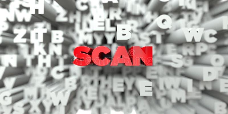 SCAN - Rode tekst op typografieachtergrond - 3D teruggegeven royalty vrij voorraadbeeld stock illustratie