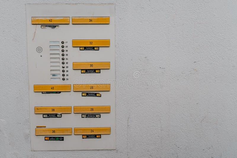 Scanalature della cassetta delle lettere su un fondo della parete intonacato casa su costruzione antiquata fotografia stock