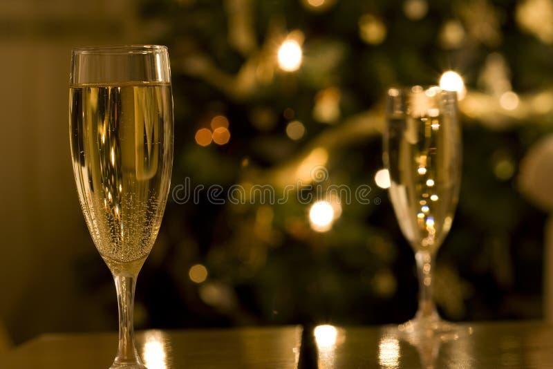 Scanalature di champagne di natale immagini stock libere da diritti