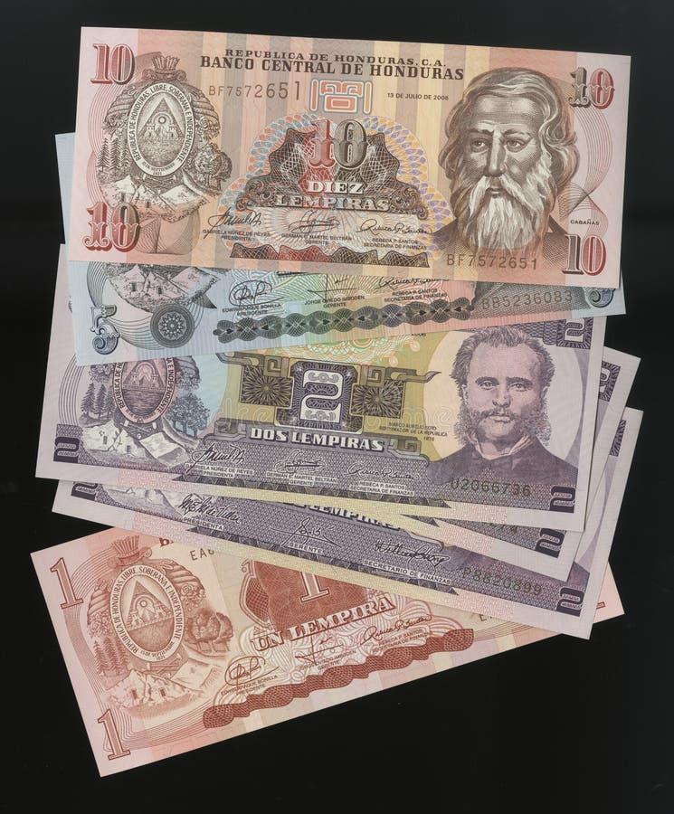 Scanarray 4 банкноты Lempira 1, 2, 5 и 10 стоковая фотография rf
